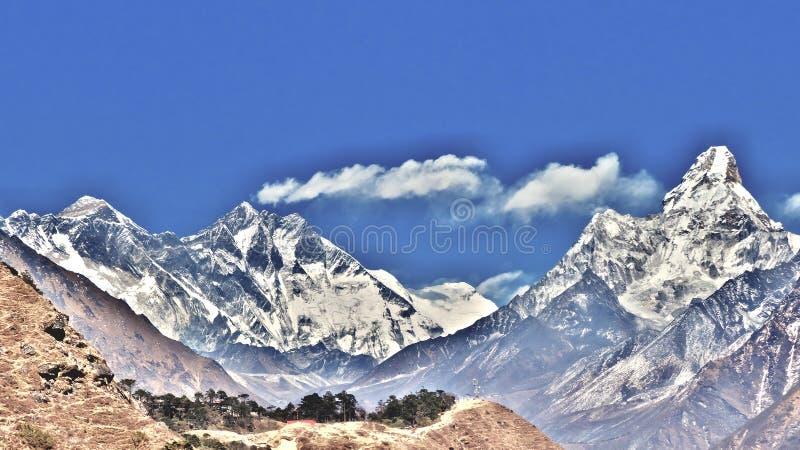 Nepal, Everest, Lhotse en Ama Dablam stock afbeelding