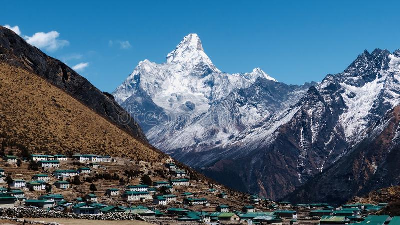 Nepal, Everest trek to the basecamp royalty free stock image