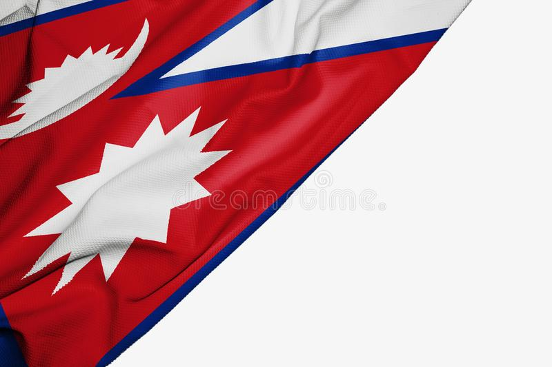 Nepal flag of fabric with copyspace for your text on white background. Asia asian banner best blue capital colorful competition country ensign free freedom vector illustration