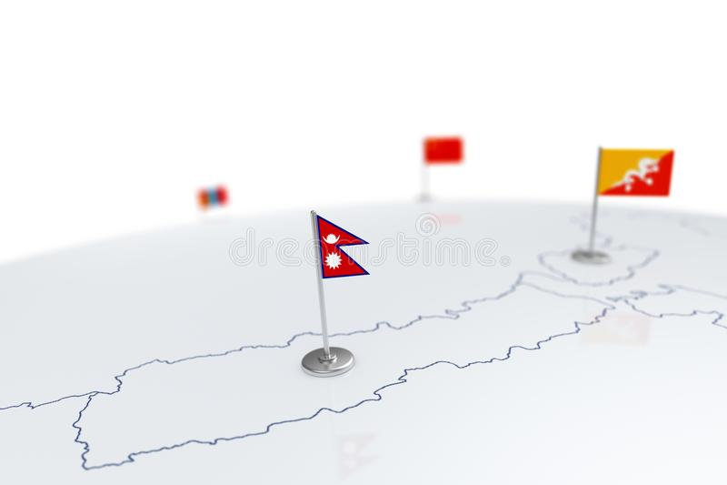Nepal flagga vektor illustrationer