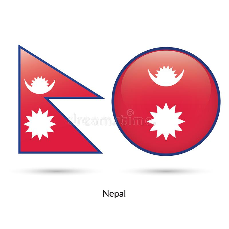 Nepal flagga - rund glansig knapp vektor illustrationer