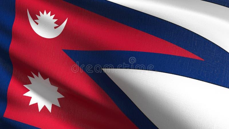 Nepal flagi państowowej dmuchanie w wiatrze odizolowywającym Oficjalny patriotyczny abstrakcjonistyczny projekt 3D renderingu ilu ilustracja wektor