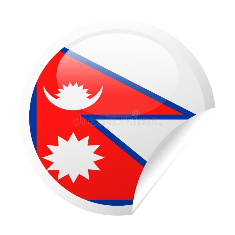Nepal flagi Round kąta papieru Wektorowa ikona ilustracja wektor