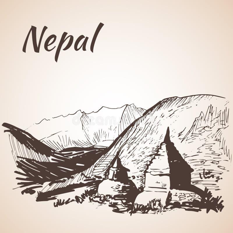 Nepal himalaje royalty ilustracja