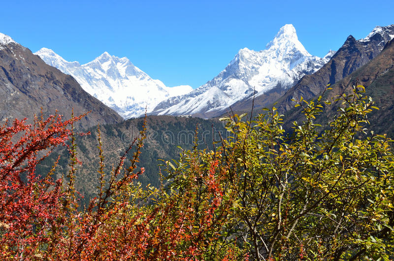 Nepal, Himalayas, mountain landscape, view of the peaks of Lhotse and AMA Dablam (amadablam) royalty free stock images