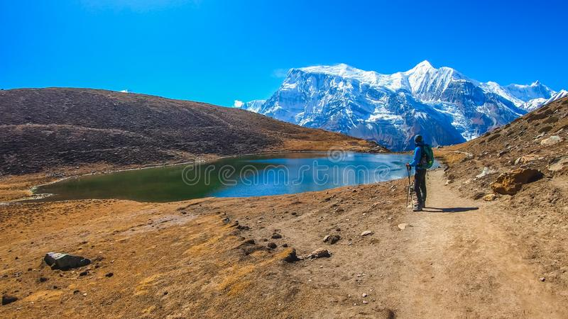 Nepal - homem novo Trekking no lago ice, corrente de Annapurna fotografia de stock