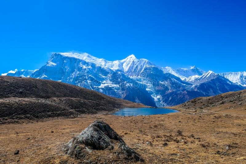 Nepal - Ice See auf Annapurna-Stromkreis-Wanderung lizenzfreies stockfoto