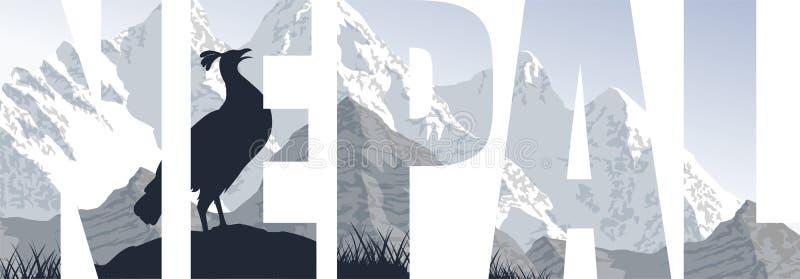 Nepal ilustracja z himalajskim monal ilustracja wektor