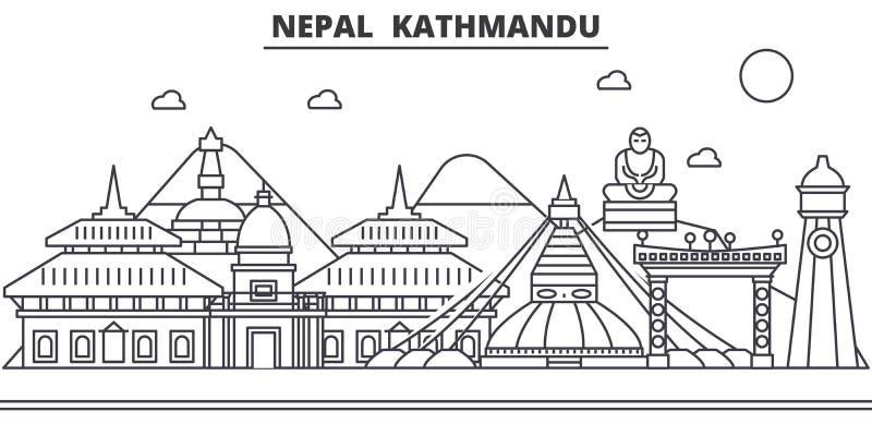 Nepal, Kathmandu architektury linii linii horyzontu ilustracja Liniowy wektorowy pejzaż miejski z sławnymi punktami zwrotnymi, mi ilustracji