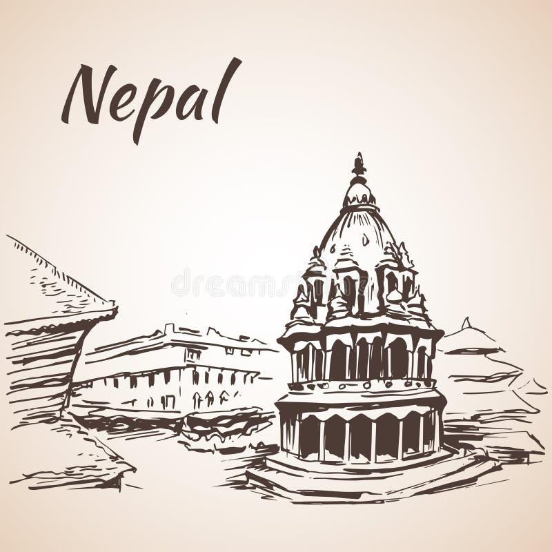 Nepal Kathmandu dolina, Bhaktapur Durbar kwadrat kathmandu Isol ilustracja wektor