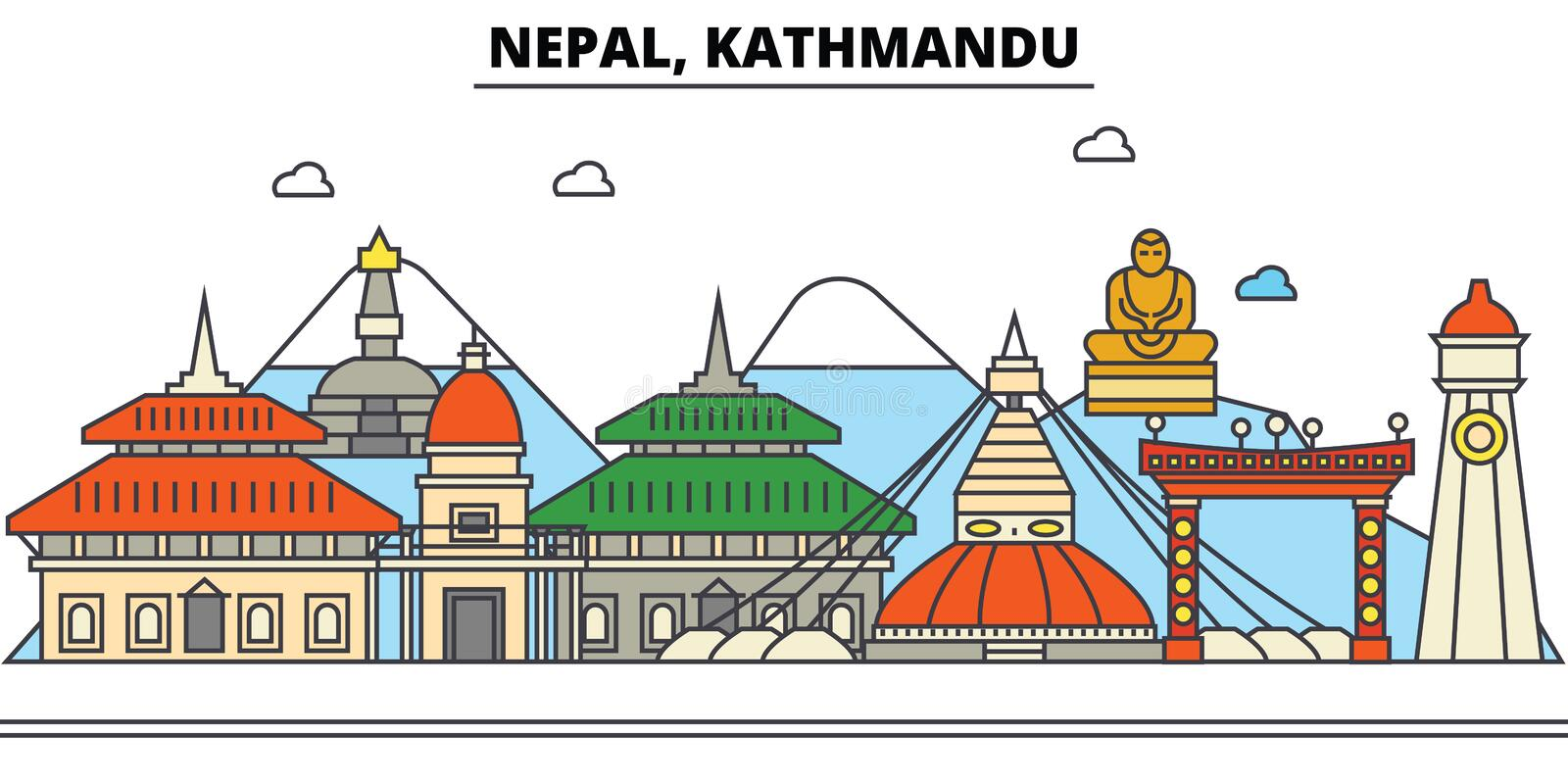 Nepal, Katmandu De architectuur van de stadshorizon editable stock illustratie