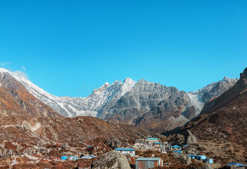 Nepal Kyanjin Gompa Langtang Lirung fotografia stock