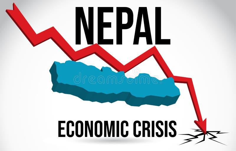 Nepal Map Financial Crisis Economic Collapse Market Crash Global Meltdown Vector. Illustration stock illustration
