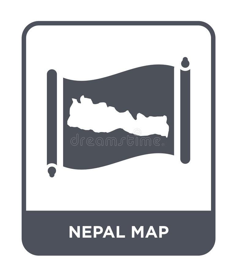 Nepal map icon in trendy design style. nepal map icon isolated on white background. nepal map vector icon simple and modern flat. Symbol for web site, mobile royalty free illustration