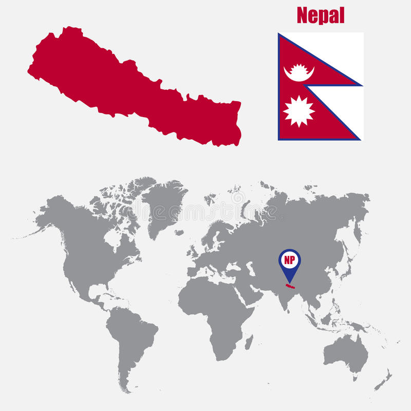 download nepal map on a world map with flag and map pointer vector illustration stock