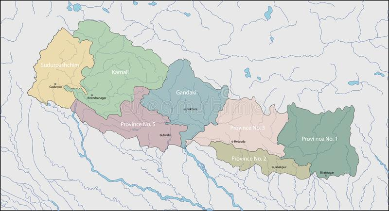 Nepal mapa royalty ilustracja