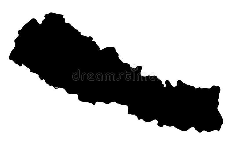 Nepal mapy sylwetki wektoru ilustracja ilustracja wektor