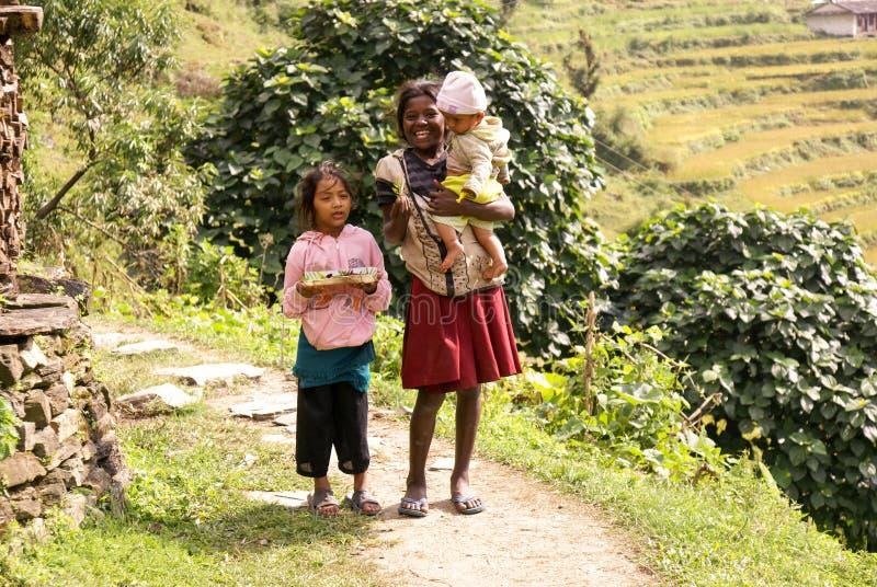 Nepal Mountain Children stock image