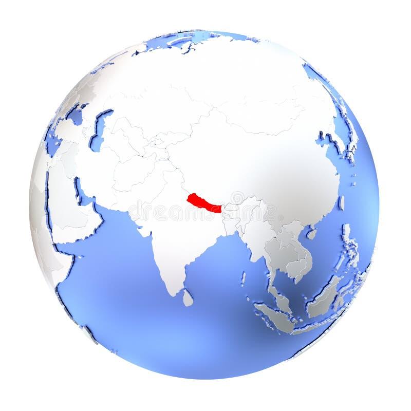 Nepal na kruszcowej kuli ziemskiej odizolowywającej ilustracja wektor
