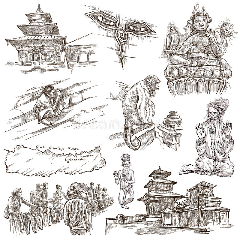 Nepal - obrazki życie Podróż Pełny - sklejeni ręka rysunki, orig ilustracja wektor