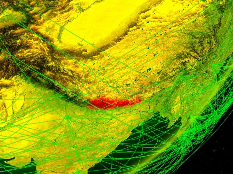Nepal op digitale Aarde stock illustratie