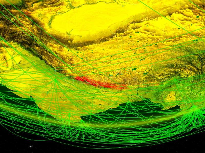 Nepal op groen model van aarde met netwerk die digitaal tijdperk, reis en mededeling vertegenwoordigen 3D Illustratie Elementen v stock afbeelding
