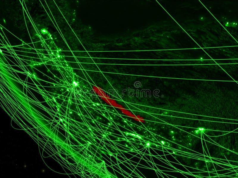 Nepal op groene aarde van ruimte met netwerk Concept internationale mededeling, technologie en reis 3d stock illustratie