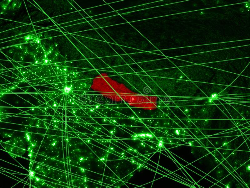 Nepal op groene kaart stock afbeelding