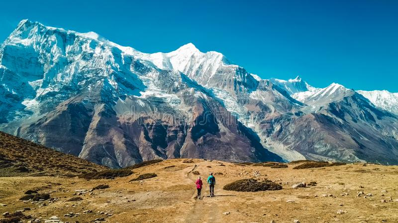 Nepal - par que trekking no circuito de Annapurna foto de stock royalty free