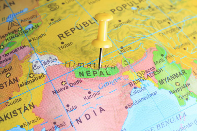 Nepal pinned on a map of Asia.  stock image