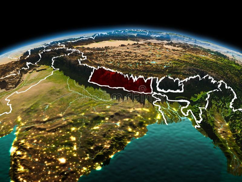 Nepal on planet Earth in space. Morning above Nepal highlighted in red on model of planet Earth in space with visible border lines and city lights. 3D royalty free stock images