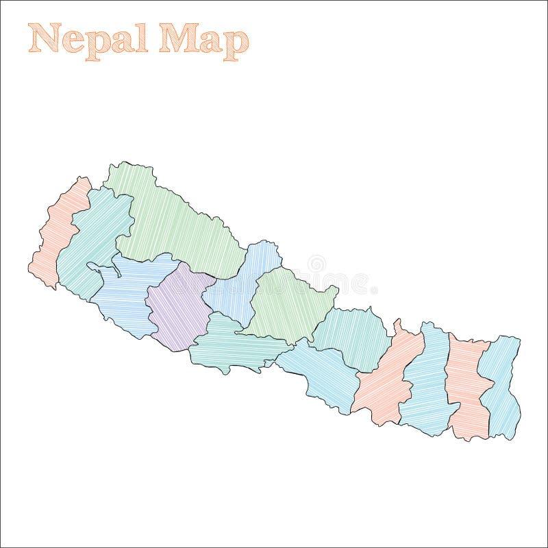 Nepal pociągany ręcznie mapa ilustracja wektor