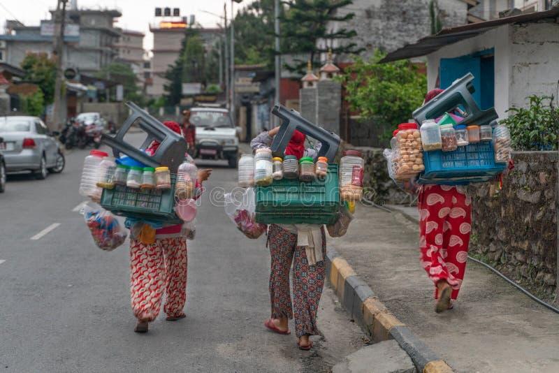 Nepal, Pokhara, voedsel van de vrouwen het verkopende straat, mobiele winkel royalty-vrije stock afbeeldingen