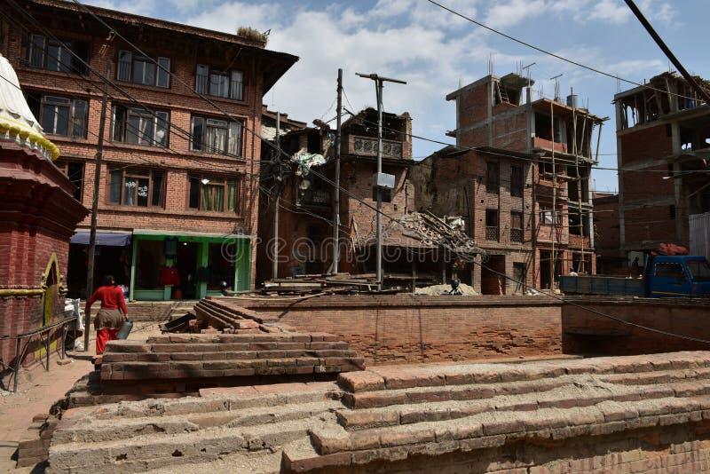 Nepal, ruínas de Bhaktapur após o terremoto foto de stock