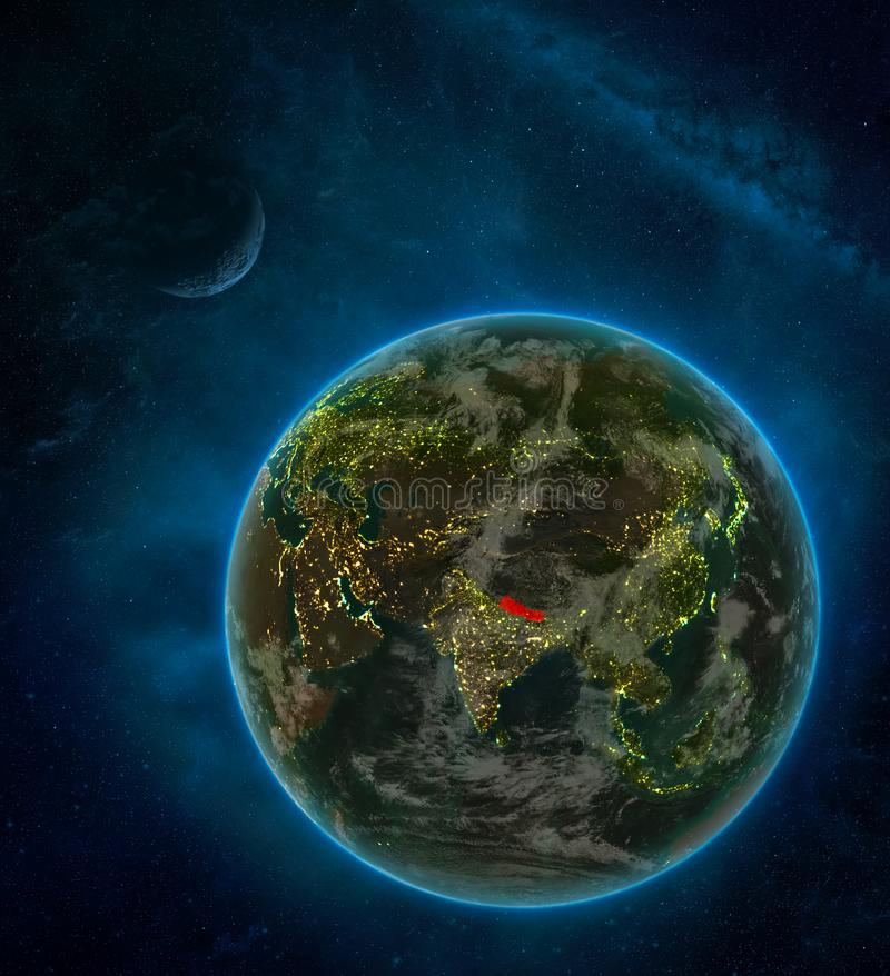 Nepal from space on Earth at night surrounded by space with Moon and Milky Way. Detailed planet with city lights and clouds. 3D. Illustration. Elements of this vector illustration