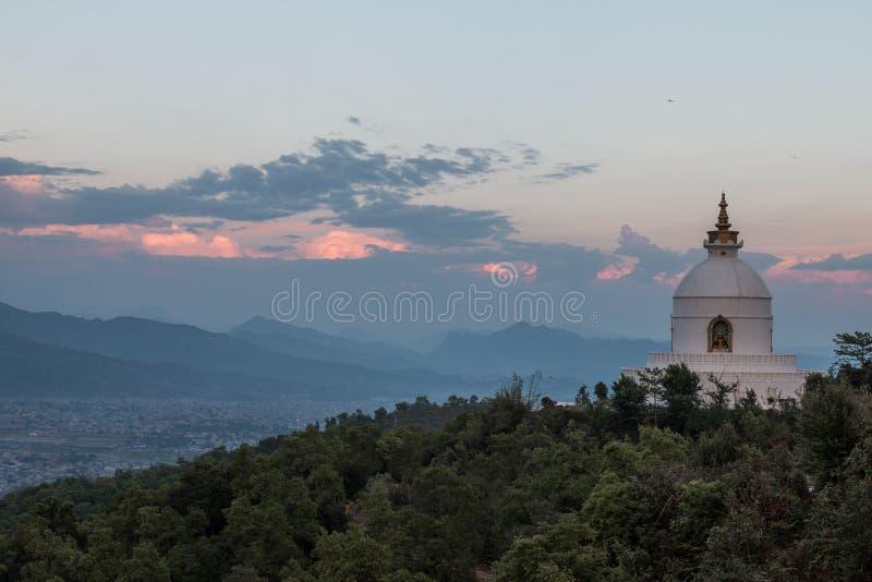 Nepal Stupa at Pokara. On tippingpoint royalty free stock photography