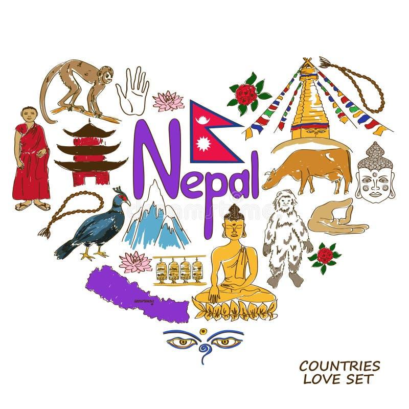 Nepal symboler i hjärtaformbegrepp royaltyfri illustrationer