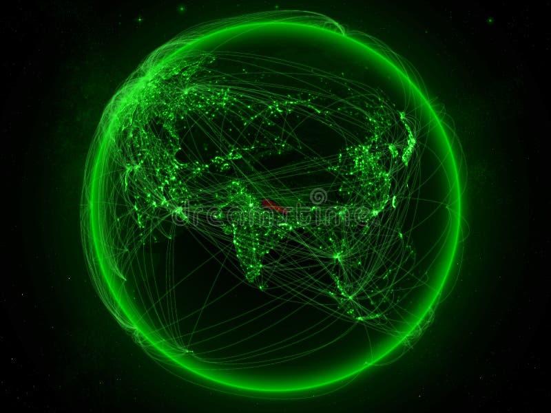 Nepal ter wereld met netwerk stock illustratie