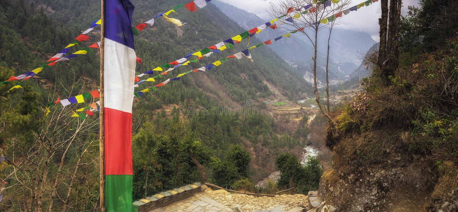 Nepal Trail in the Ewerest region stock photography