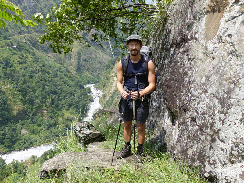 Nepal trekking. Way through Marsyangdi river valley - Annapurna Circuit trek stock image