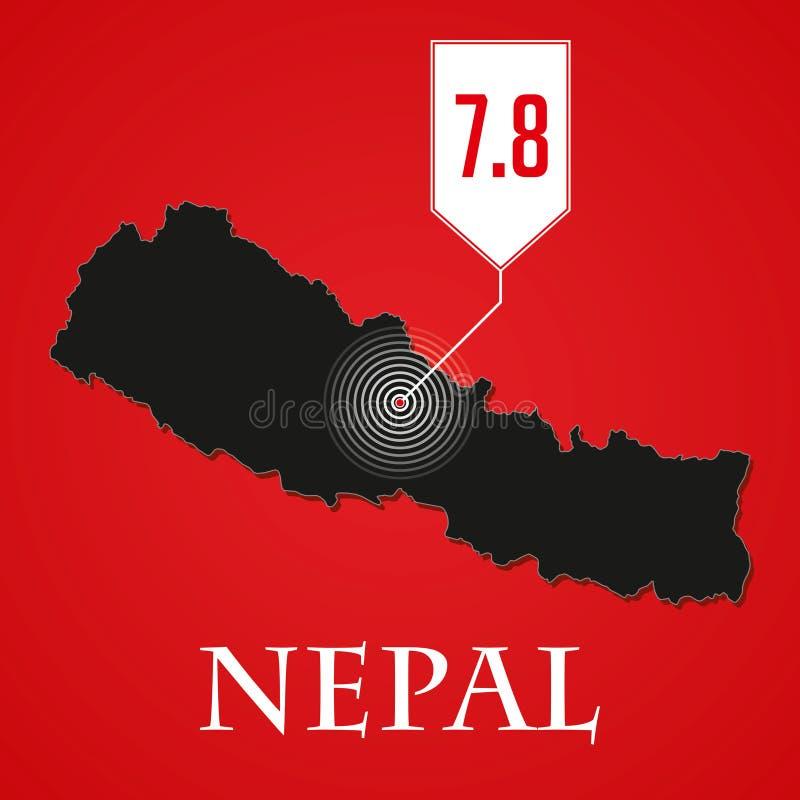 Nepal trzęsienie ziemi royalty ilustracja