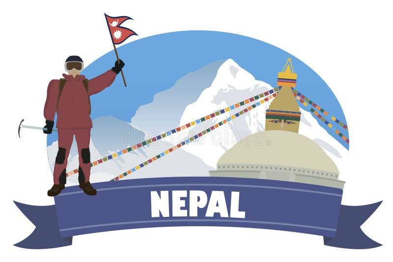 Nepal Turystyka i podróż ilustracja wektor