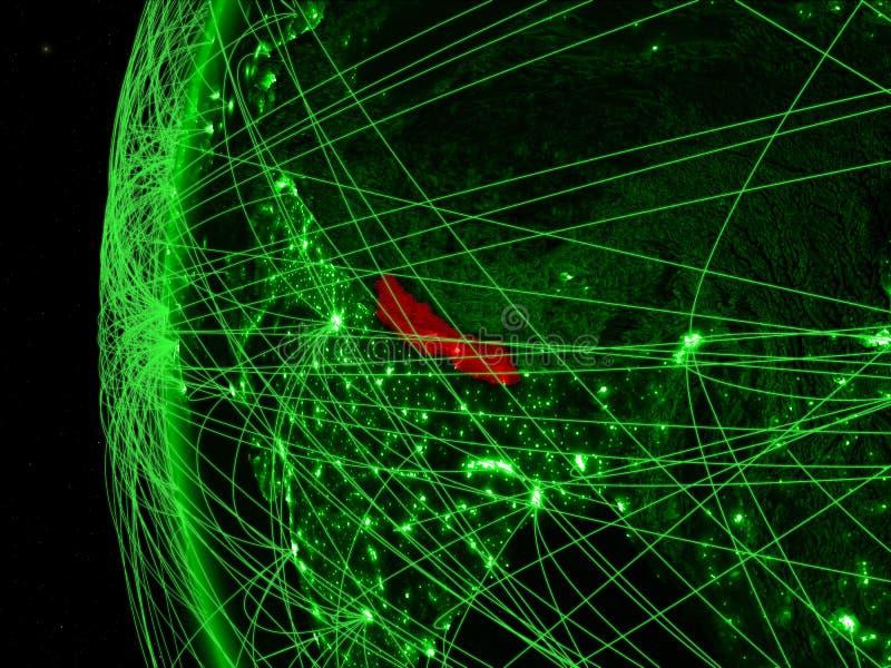 Nepal van ruimte op groen model van Aarde met internationale netwerken Concept groene mededeling of reis 3D Illustratie royalty-vrije stock afbeeldingen