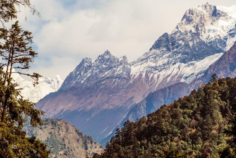 Nepal - View on Manaslu from Annapurna Circuit Trek, Himalayas, Nepal stock photography