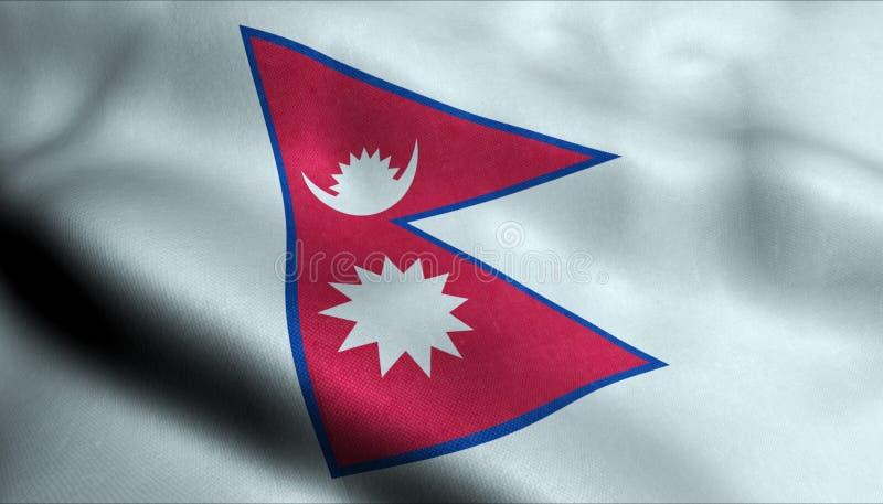 Nepal vinkande flagga i 3D vektor illustrationer