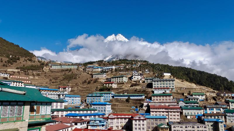 Nepal, Village Namche Bazar, way to Everest royalty free stock photos