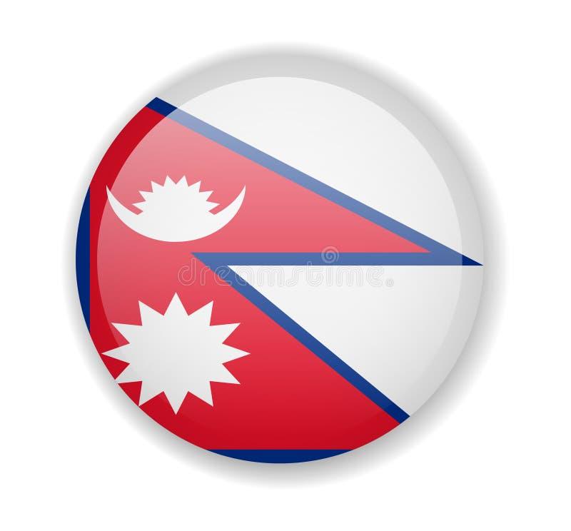 Nepal zaznacza wokoło jaskrawej ikony na białym tle ilustracja wektor