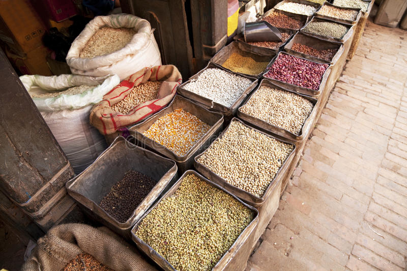Nepalese Beans, Grains and Spices stock photography