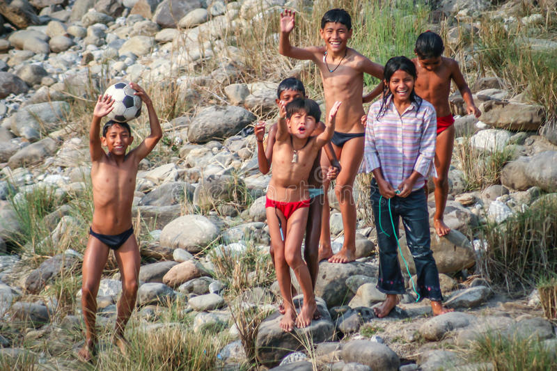 Nepalese boys. Having fun on the banks of a river, Butwal, Nepal stock photos