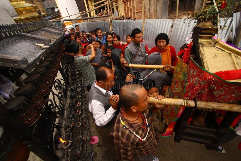 Nepalese che celebra il festival di Nawami della ram fotografie stock libere da diritti